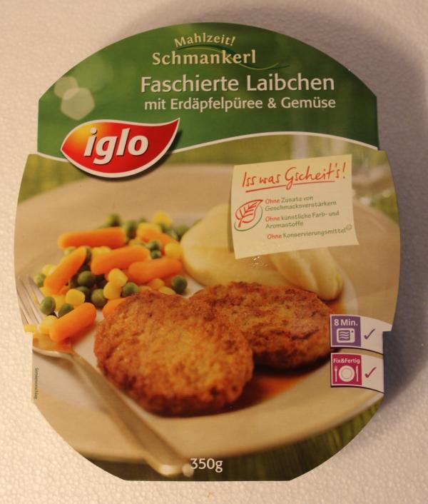 Iglo Mahlzeit Schmankerl Faschierte Laibchen Erdäpfelpüree Gemüse Verpackung