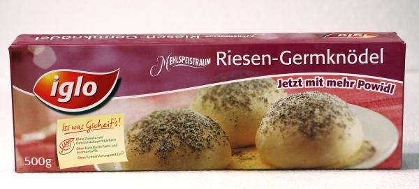 Iglo Mehlspeistraum Riesen Germknödel Powidl Verpackung Packaging