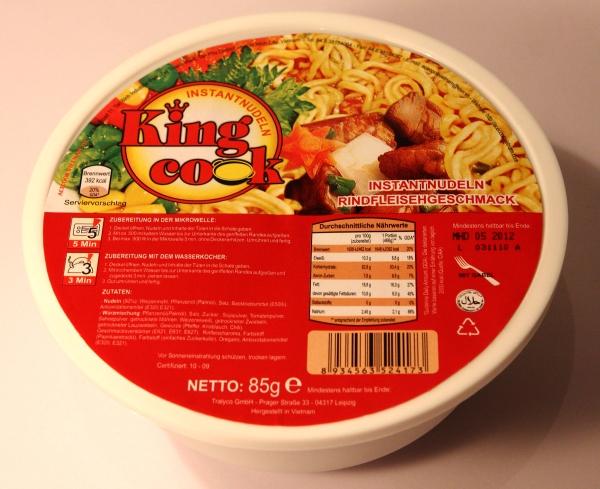 King Cook Instantnudeln Instantnoodles Rindfleischgeschmack Verpackung Packaging