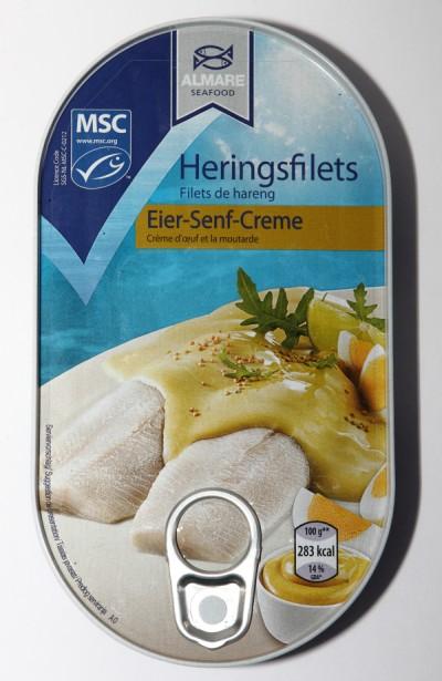 Almare Heringsfilets Eier-Senf-Creme Verpackung klein