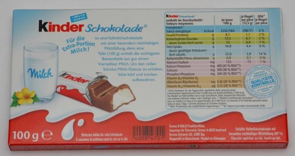 kinder schokolade chocolate packung rückseite backside