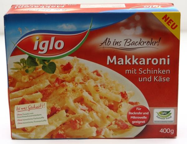 iglo makkaroni schinken und käse verpackung packung