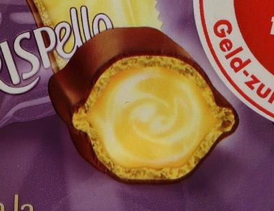 Milka Crispello Schnitt Vanille Inhalt Detailaufnahme Werbung