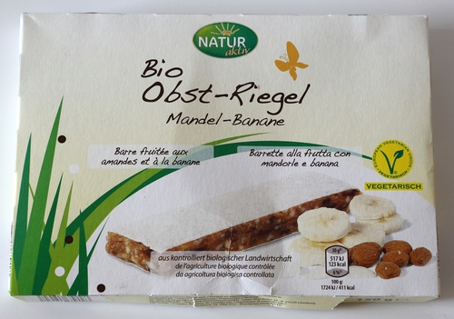 Natur Aktiv Hofer Aldi Bio Riegel Verpackung Aussehen Obst Banane Mandel Natur Aktiv