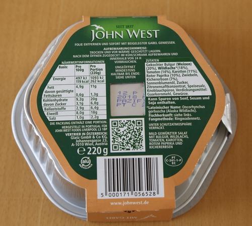 John West Latein Unterricht Alaska Wildlachs auf Lateinisch Oncorhynchus gorbuscha