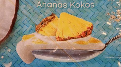 Müller Joghurt mit der Ecke Bora Bora Kokos Ananas Löffel Kokos Ananas Joghurt Müller