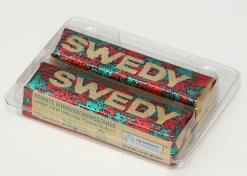 Niemetz Swedy 2er Verpackung Supermarkt Verpackung Niemetz Werbung Schokoriegel Erdnusscreme